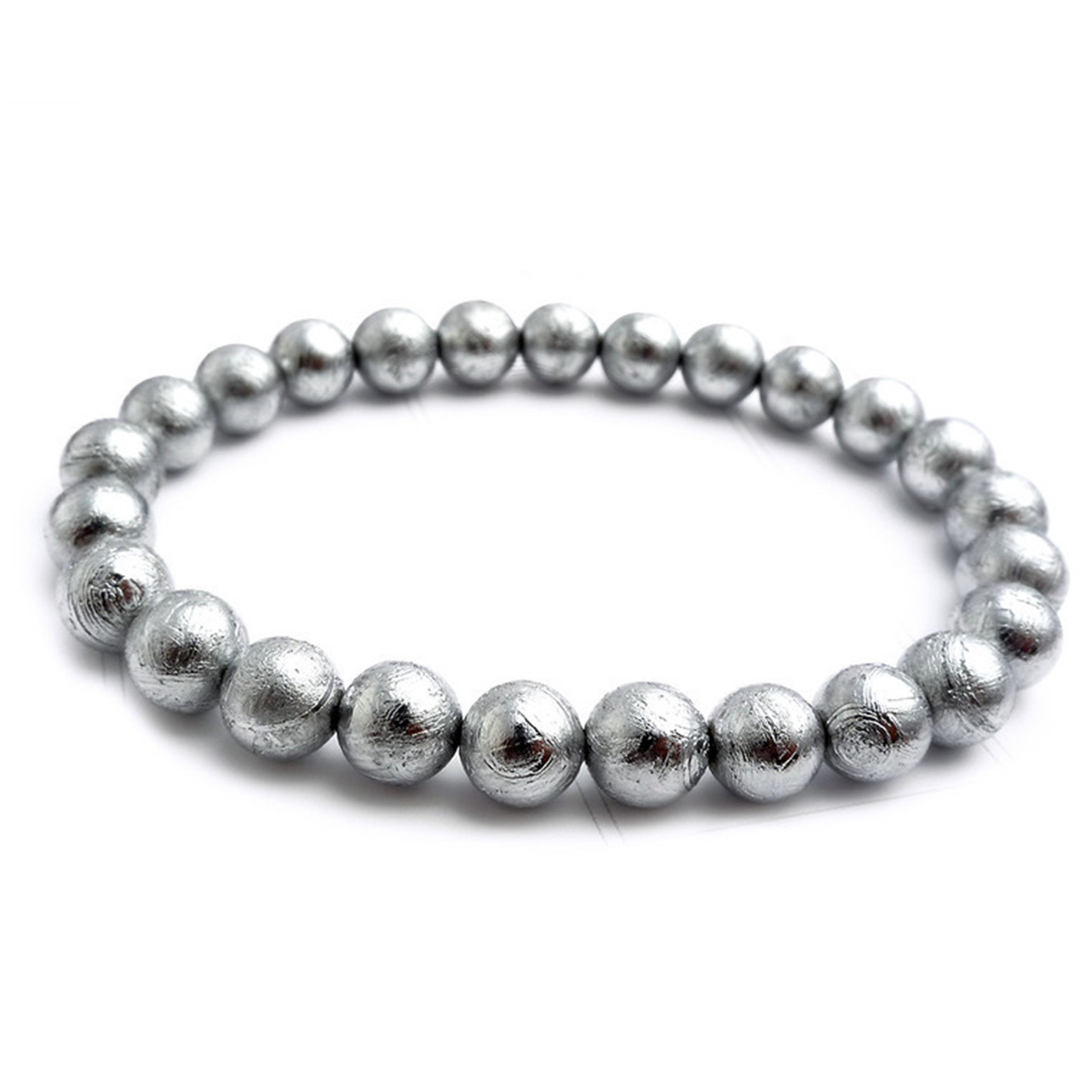 Natural Gibeon Iron Meteorite Silver Plated Round Bead Bracelet 6mm