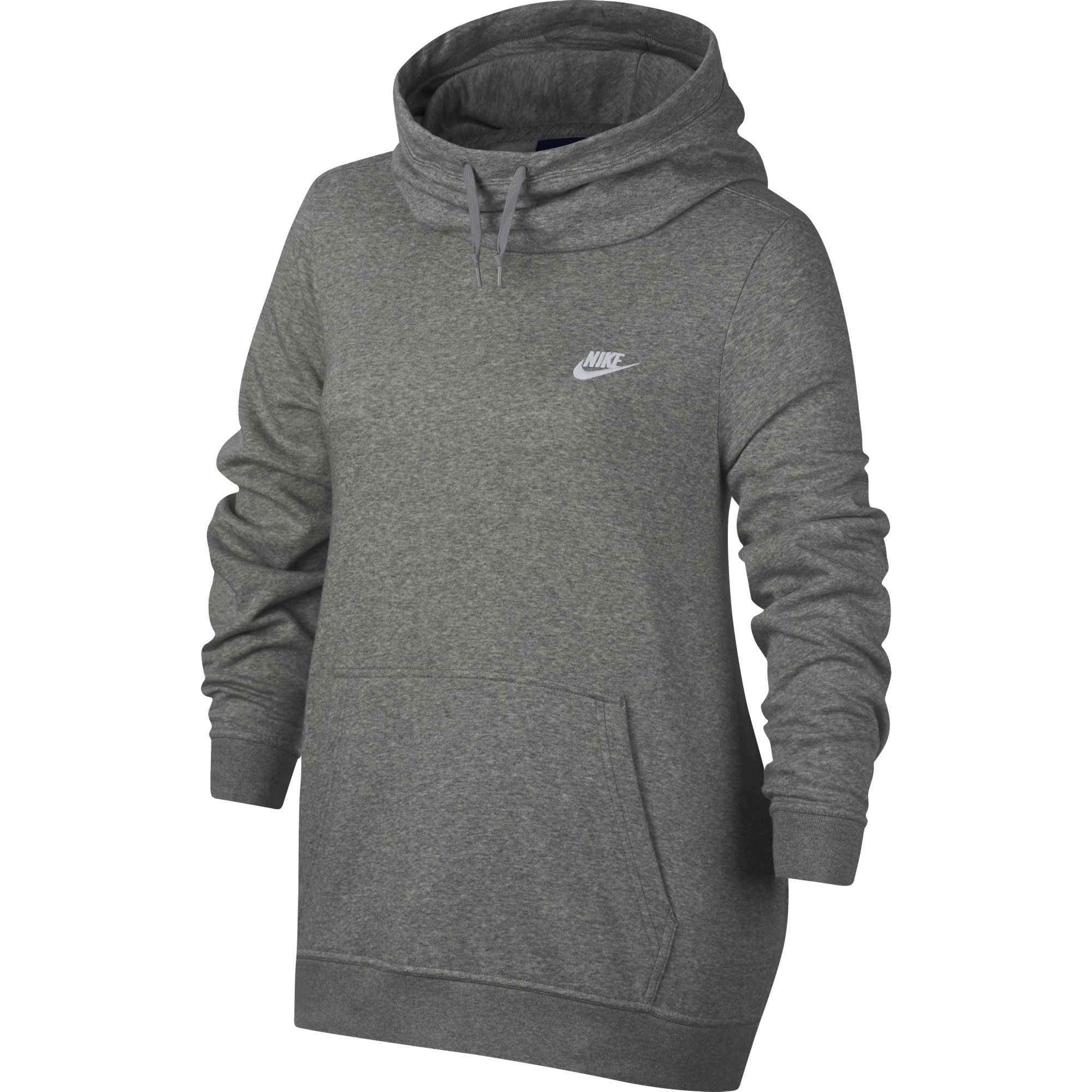 NIKE Sportswear Women's Plus Club Funnel-Neck Hoodie, Dark Grey Heather/Dark Grey Heather/White, 2X