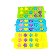 Mirenlife 3-piece Mini Star, Heart and Shell Shape Silicone Candy Molds, Chocolate Molds, Ice Cube Tray, Soap Molds, Cake Baking Mold, Three Colors (Green, Blue, Yellow)