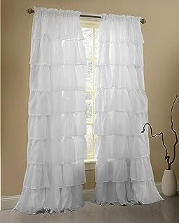 Gee Di Moda White Ruffle Curtains Gypsy Lace Curtains For Bedroom Curtains  For Living Room