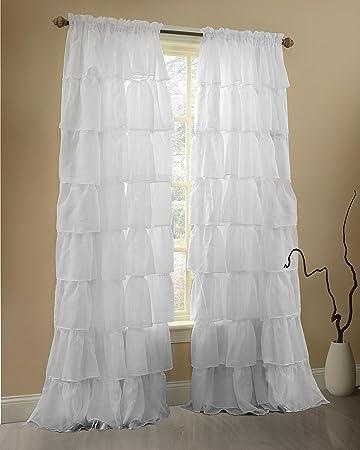 Amazon.com: Gee Di Moda Ruffle Curtains Rod Pocket Window Curtains ...