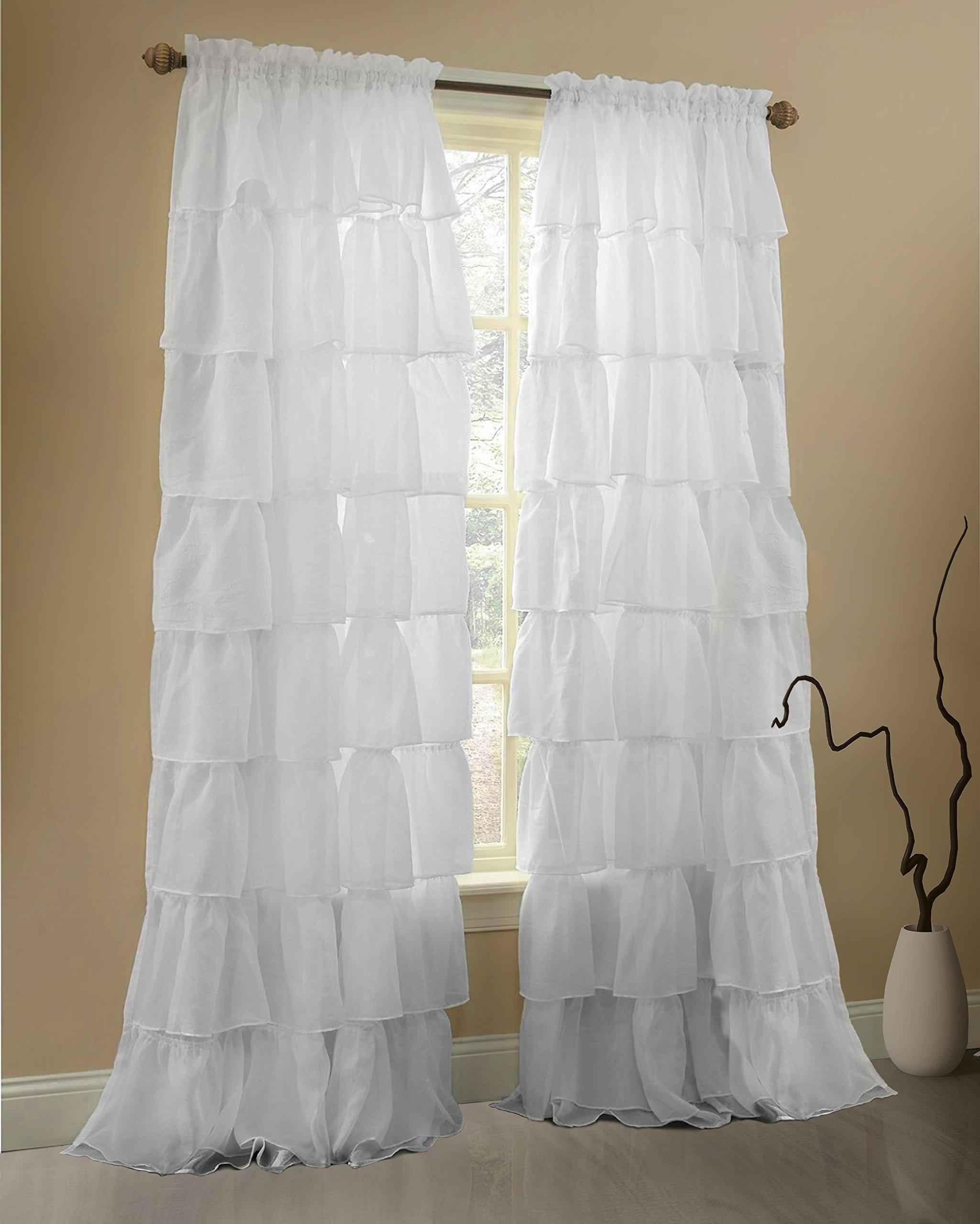 Black ruffle curtains - Description