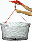 "Crabite Double Ring Wire Crab Hoop Pier Net Fishing Lobster Shrimp Trap with 50' Rope 23.6""X19.7"" Outside Diameter 11"" Depth"