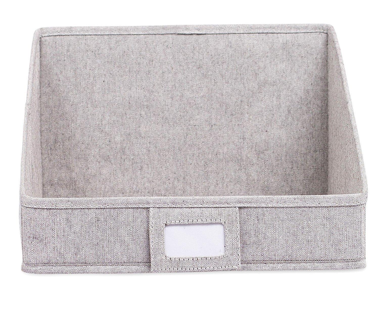 CDM product Internet's Best Open Cloth Storage Bin   Closet Shelf Storage Box   Organize Sheets Blankets Towels Sweaters Scarfs   Grey (4 Pack) small thumbnail image