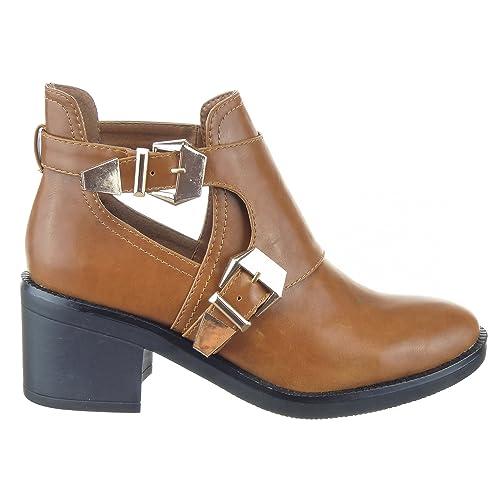 Sopily - Zapatillas de Moda Botines Low Boots Altas A medio muslo mujer Hebilla Talón Tacón