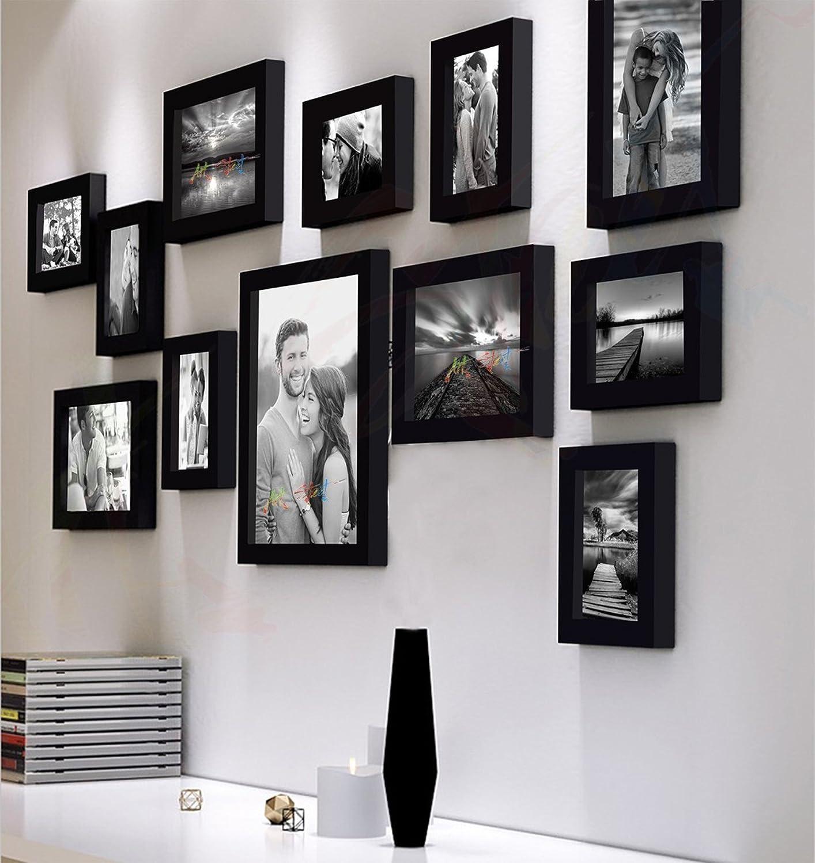 Art street decorative nebula set of 12 individual wall photo frame black4x6 7 unit 6x8 4 units 8x10 i unit