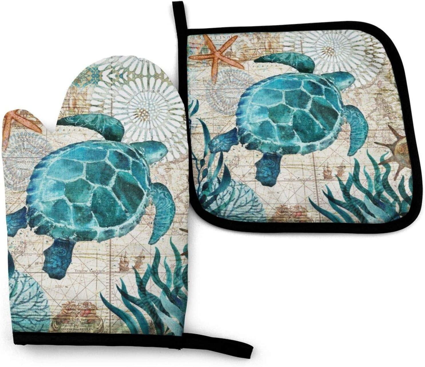 QEKOZU Marine Life Theme Sea Turtle Oven Mitts and Pot Holders for Kitchen Counter Safe Mats, Non-Slip Textured Grip and Heat Resistant Gloves Perfect for Cooking Baking BBQ Grilling (2-Piece Set)