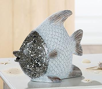 Cht Dekofigur Skulptur Figura Figur Fisch In Silber Weiss Deko