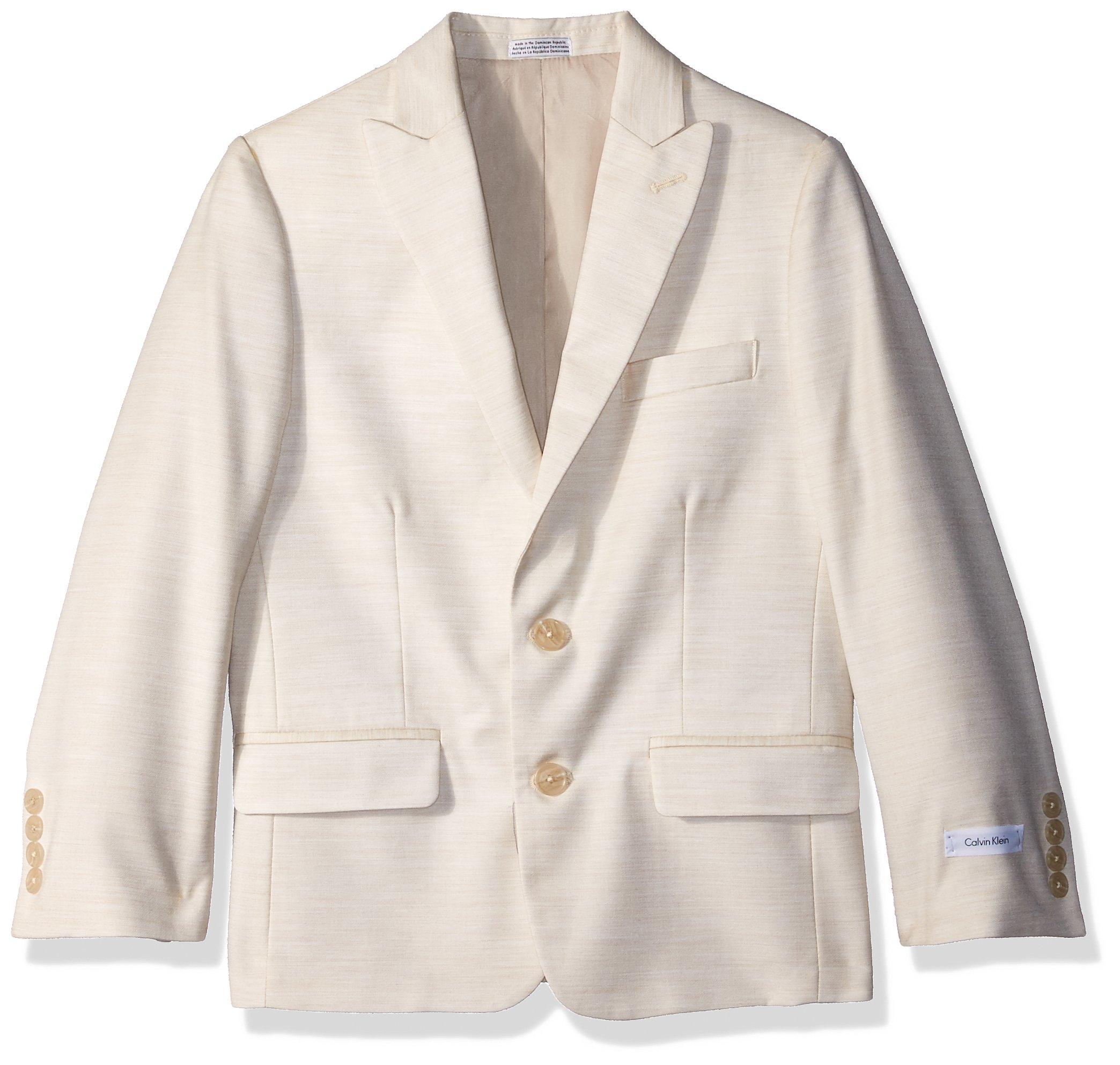 Calvin Klein Big Boys' Twill Blazer Jacket, Hummus, 12