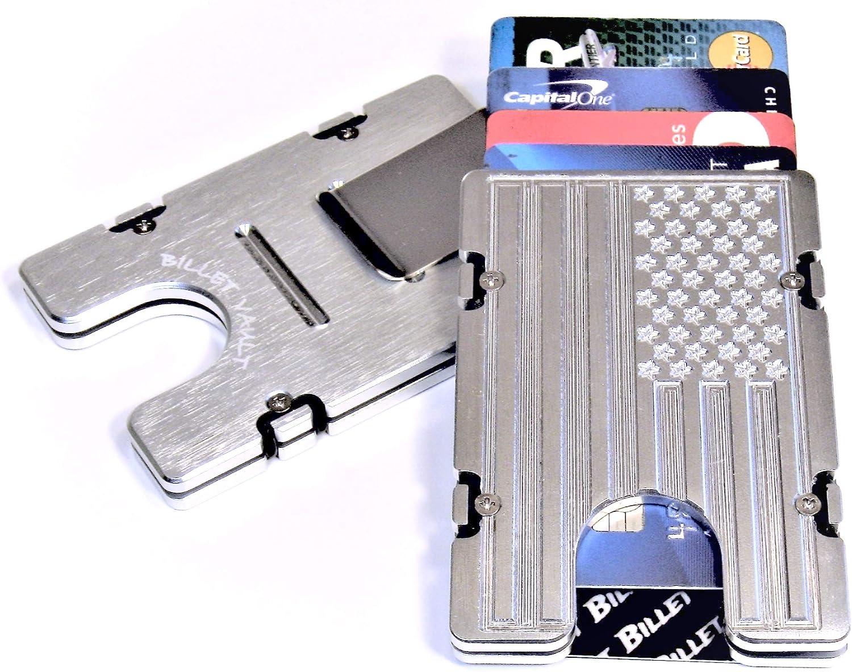 RFID protection BilletVault Aluminum Wallet//Card Holder Black American Flag