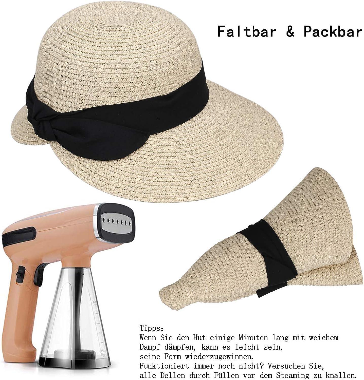Sonnenschutz Damen Hut Strand Strohhut Mützen Breite Krempe Hüte Mützen Faltbare