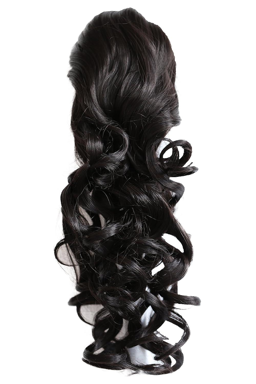 PRETTYSHOP Clip en las extensiones postizos de cabello pelo largo hechos de fibras sintéticas resistentes al calor ombre marrón # 6T27 H142