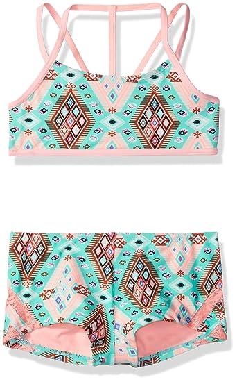 cc37ab9a0b Amazon.com: Gossip Girl Big Girls' Aztec Harvest Two Piece Bikini Swimsuit,  Brown/Aqua, 7: Clothing