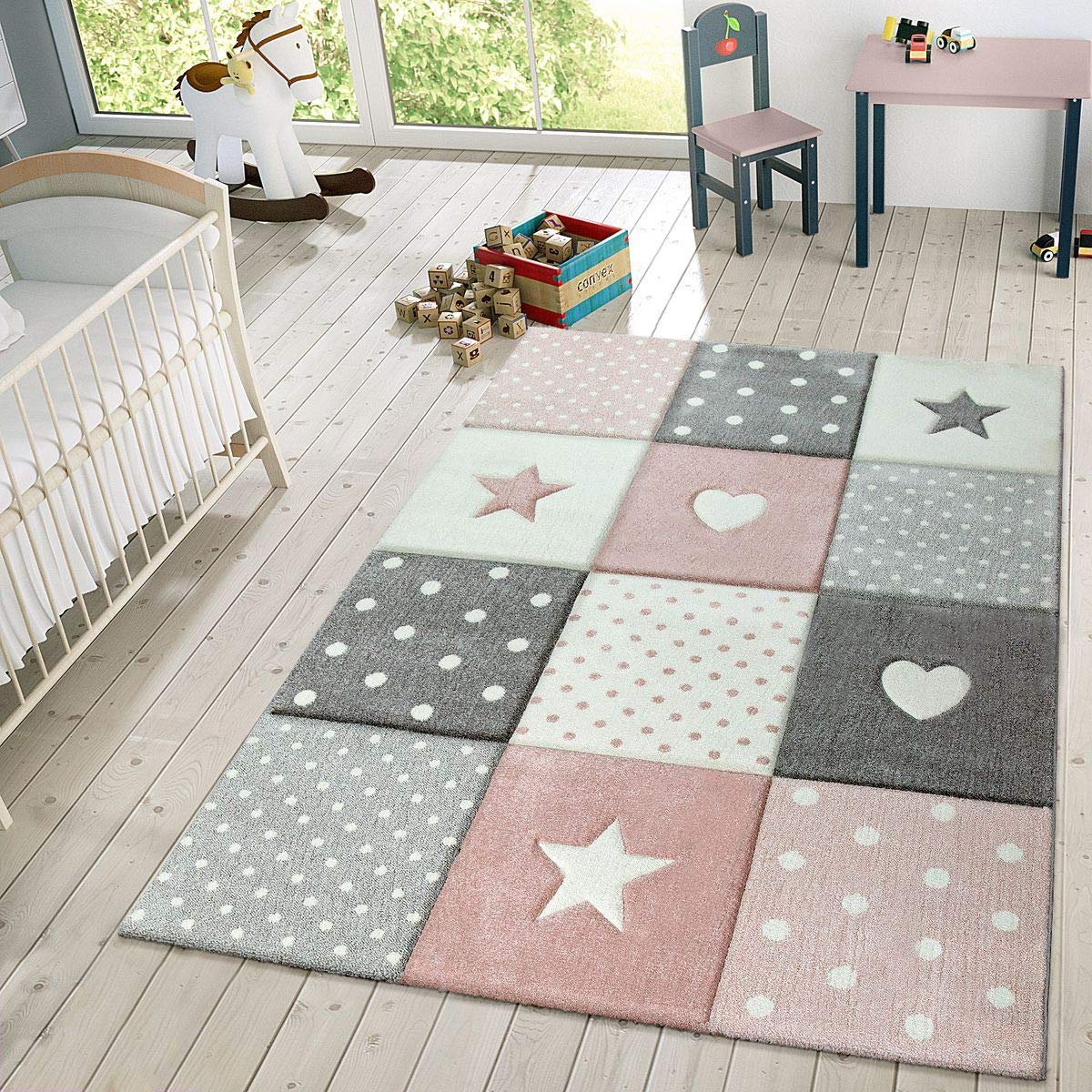 Children's Rug Pastel Colours Checked Dots Hearts Stars White Grey Pink, Size:200x290 cm by Paco Home