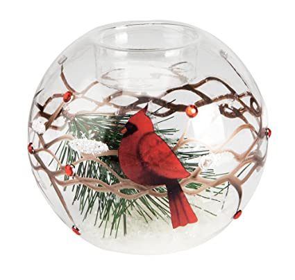 the paragon glass candle holder christmas cardinal tealight candle decoration - How To Decorate Votive Candle Holders For Christmas