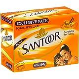 Santoor Sandal and Turmeric Soap, 150g (Pack of 4)