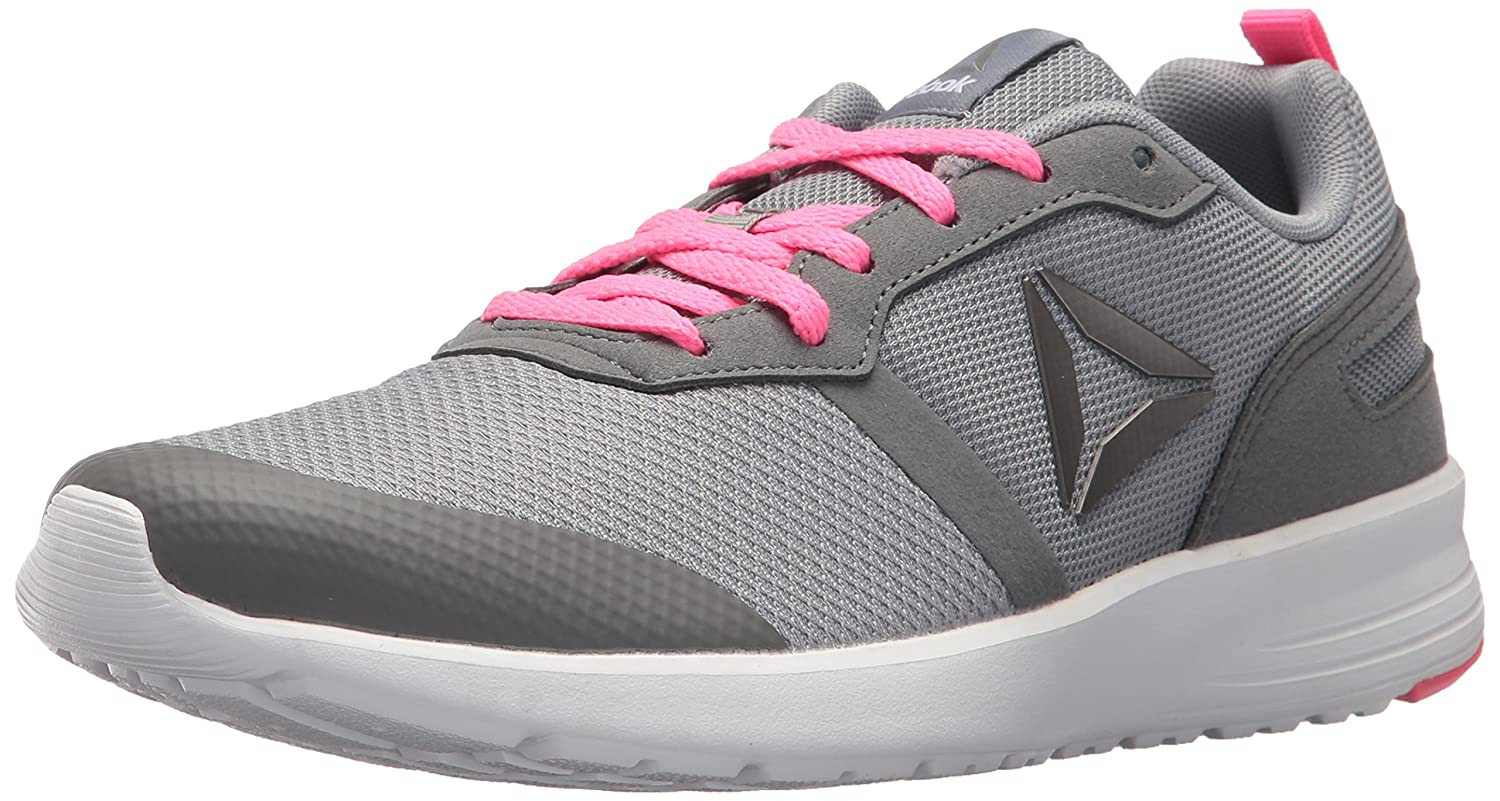 Reebok Women's Foster Flyer Track Shoe B01N7HYDLP 6 B(M) US|Flat Grey/Medium Grey/Poison Pink/White/Pewter