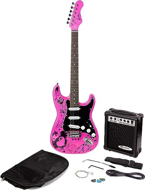 Paquete de guitarra eléctrica Jaxville Pink Punk ST Estilo: Amazon ...