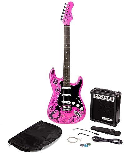Paquete de guitarra eléctrica Jaxville Pink Punk ST Estilo