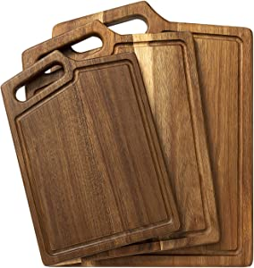 HBlife Extra Thick Acacia Wood Cutting Board for Kitchen with Handles & Juice Groove, 3-Pieces Set Assorted Sizes - Butcher Block for Chopping Meat Cheese and Vegetables