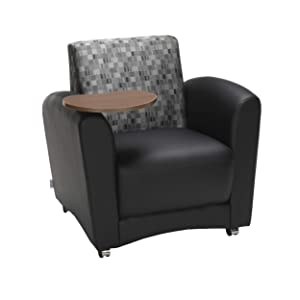 OFM Core Collection InterPlay Series Single Seat Chair with Bronze Tablet, in Black/Nickel
