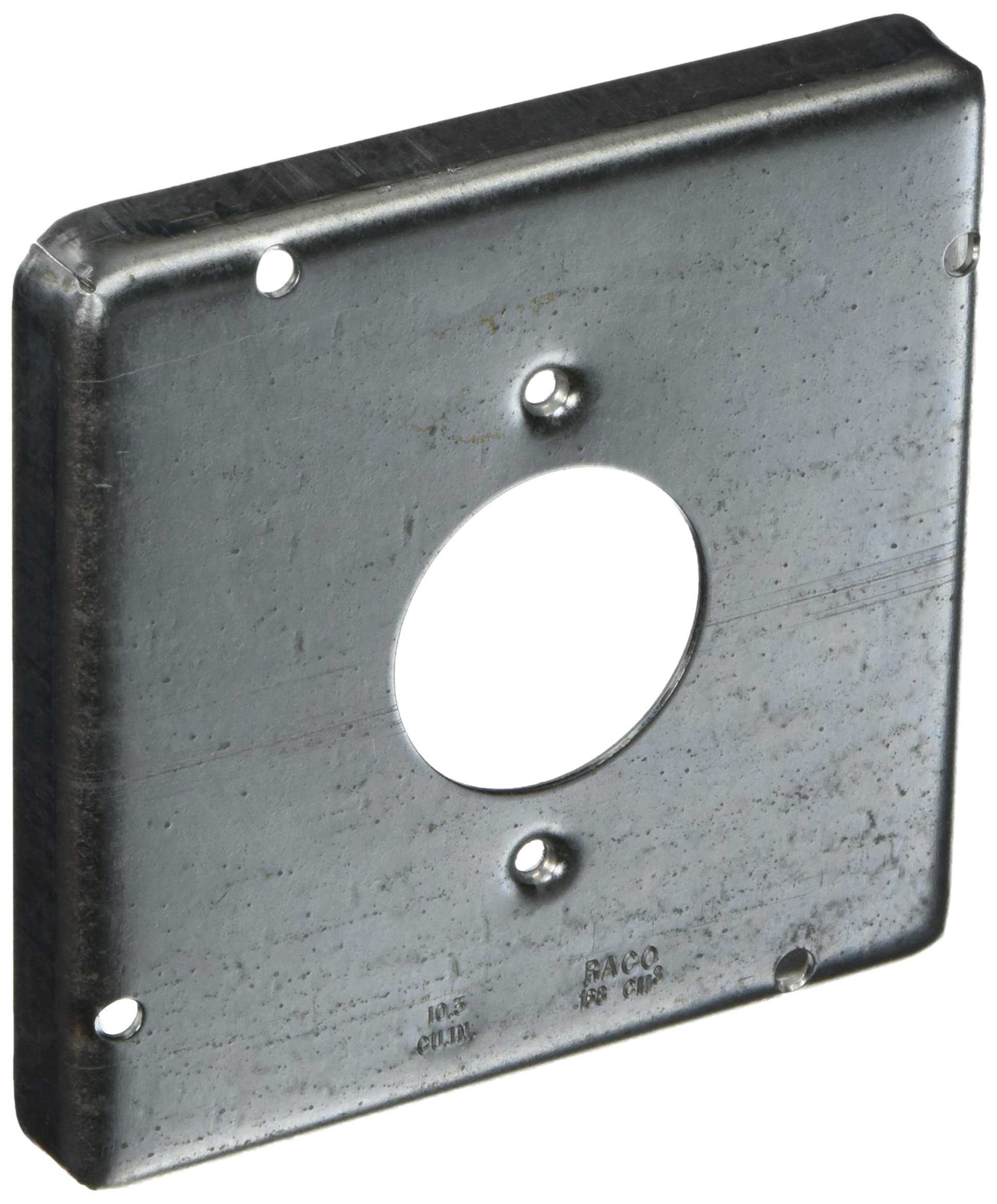 Hubbell-Raco 887 1/2-Inch Raised Square Cover with (1) 1.59-Inch Diameter 20 Amp Receptacle, 4-11/16-Inch