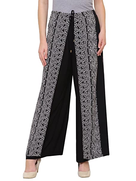 0ab872d5c5dd DAMEN MODE Women Black Rayon Crepe Layered Wrap on Printed Palazzo Pants  (32)