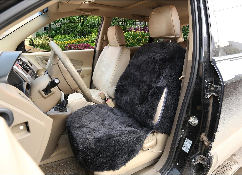 WOLTU AS7334sb Coprisedile Singolo Anteriore per Auto Universali Seat Cover Protezione per Sedile della Macchina in Pelliccia di Agnello Argenteo