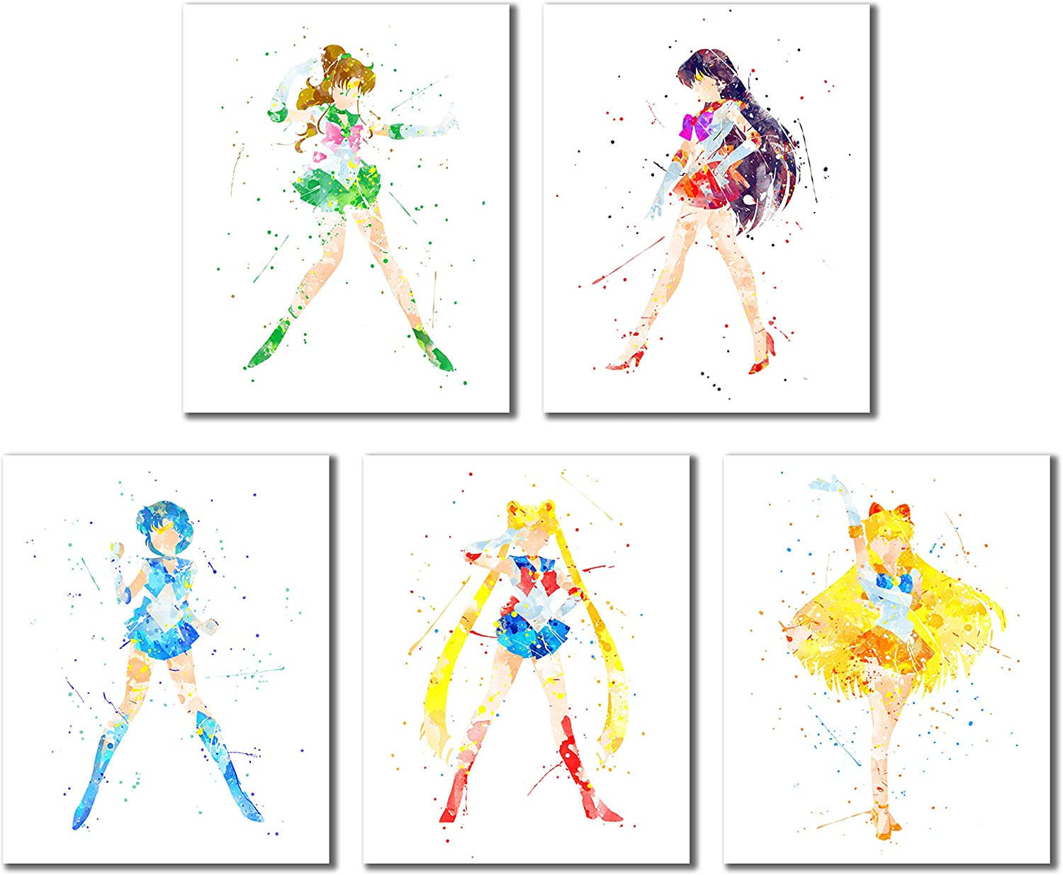 Sailor Moon Watercolor Art Prints - Set of 5 (8 inches x 10 inches) Wall Decor Photos - Sailor Jupiter Mars Venus Mercury