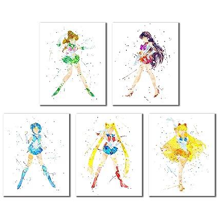 Amazon Com Bigwig Prints Sailor Moon Watercolor Art Prints Set Of