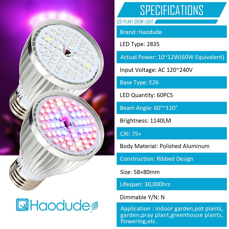 Amazon.com : Led Grow light Bulb, 60W Full Spectrum Grow lights E26 ...