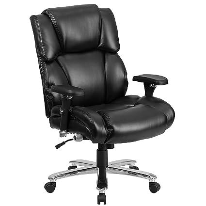 e745f323b69 Amazon.com  Flash Furniture HERCULES Series 24 7 Intensive Use Big   Tall  400 lb. Rated Black Leather Executive Swivel Chair with Lumbar Knob   Kitchen   ...