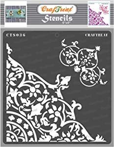 CrafTreat Corner Stencils for Painting on Wood, Canvas, Paper, Fabric, Floor, Wall and Tile - Flourish Corner - 6x6 Inches - Reusable DIY Art and Craft Stencils - Rangoli Corner Stencil