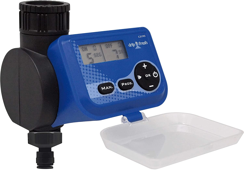 Drip&Fresh C5190 - Programador digital de nebulización por segundos. Especialmente para sistemas de nebulización. Apertura y cierre por membrana para mayor duración de las pilas. De 3 a 99 segundo