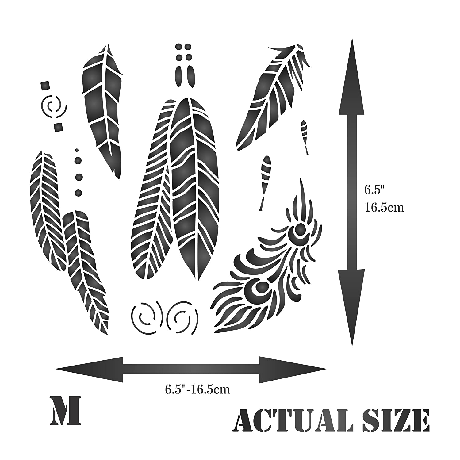 Use on Paper Projects Scrapbook Journal Walls Floors Fabric Furniture Glass Wood etc. 11.5 x 11.5cm S - Reusable Native American Bird Peacock Feather Wall Stencil Template Feathers Stencil