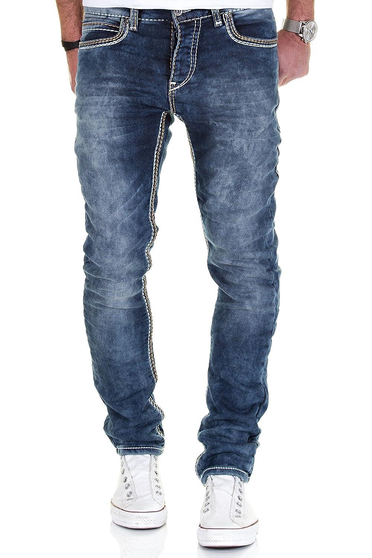 MERISH Vaqueros para Hombre Denim Straight Fit Costuras Gruesas Azul Oscuro Modell 1710