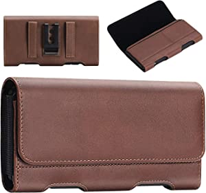 BECPLT Samsung Galaxy J7 (2018) Holster Case, Galaxy j7 Crown Case/ J7 Prime 2 Case/J7 Max Case/ J7 Duo Case J7v Leather Holster Pouch Belt Clip Case Cover with Card Holder(Fit w/Thin Case on)(Brown)