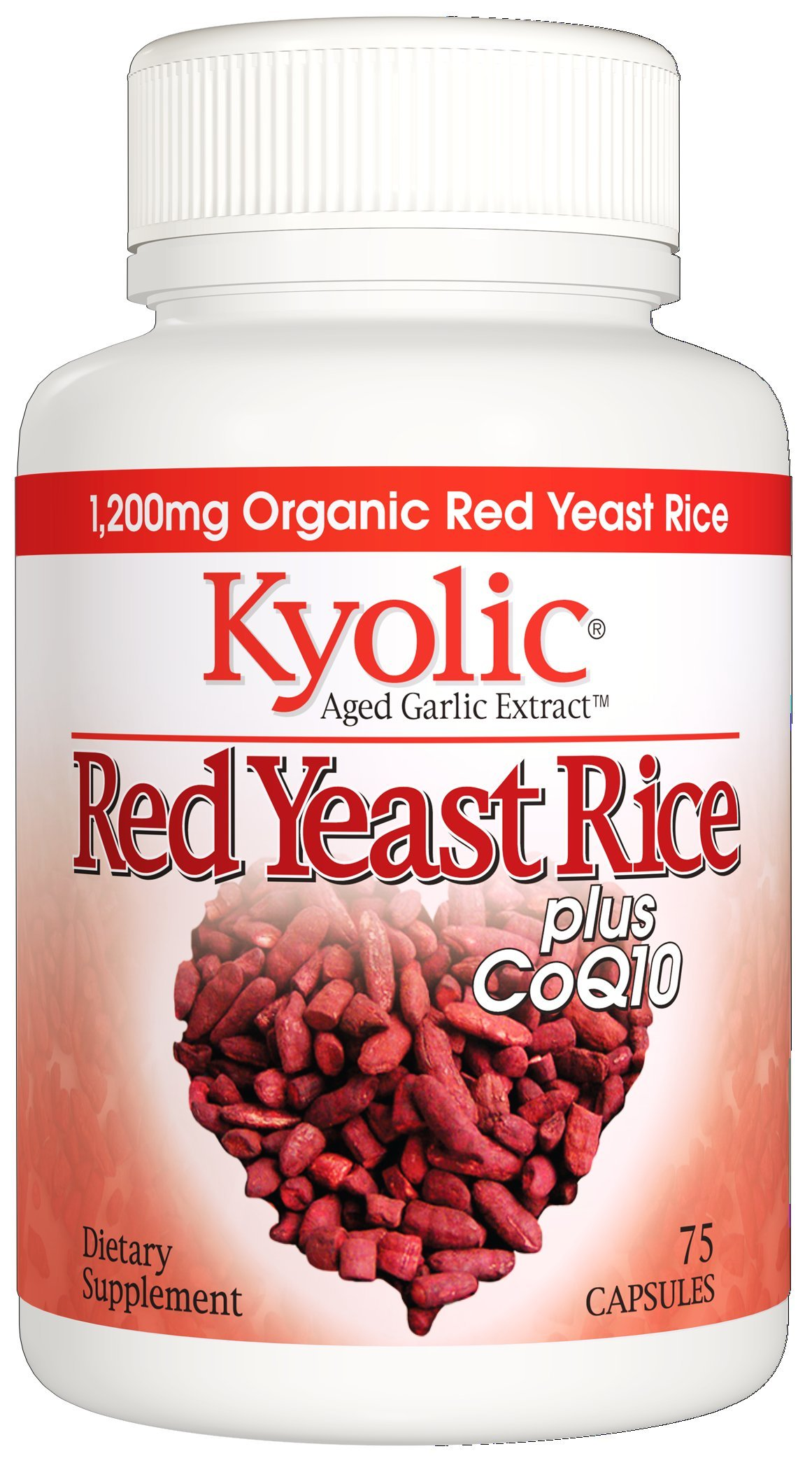 Kyolic Aged Garlic Extract Formula 114 Red Rice Yeast & Coq10 (75 Capsules) Odorless Organic Garlic Supplement with Coq10, Soy- Dairy- Gluten-Free, Gentle on the Gut Garlic Pills