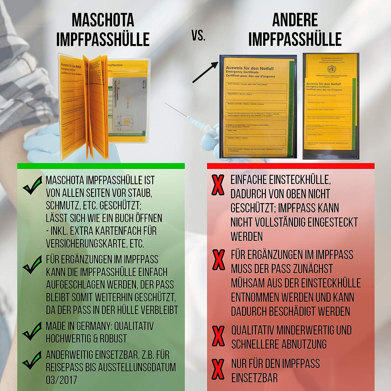 carte de rendez-vous MASCHOTA Lot de 6 cartes de vaccination /Étui ind/échirable fabriqu/é en Allemagne 2 /étuis pour carnet de vaccination avec compartiment pour carte dassurance 2 cartes durgence