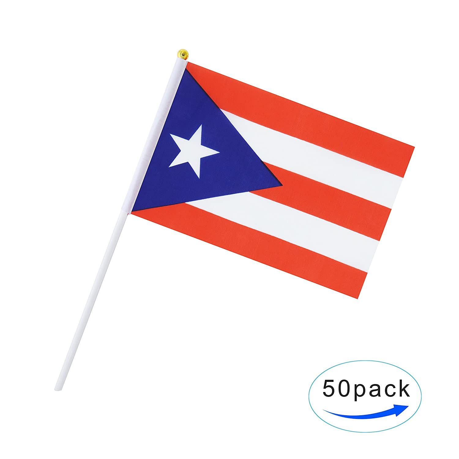 Amazon com tsmd puerto rico stick flag 50 pack hand held small puerto rican national flags on stick international world country stick flags banners