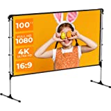 VANKYO StayTrue Projector Screen with Stand, 100 inch Portable Projection Screen, 4K HD 16:9 Wrinkle-Free Outdoor Indoor…