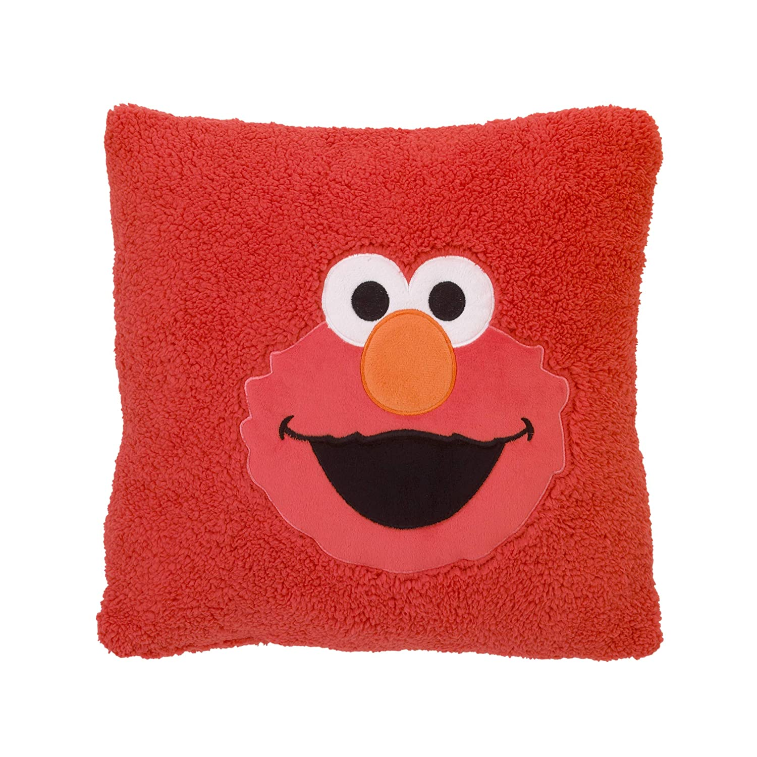 Sesame Street Elmo Red Super Soft Sherpa Toddler Pillow with Applique, Red/Orange/White/Black