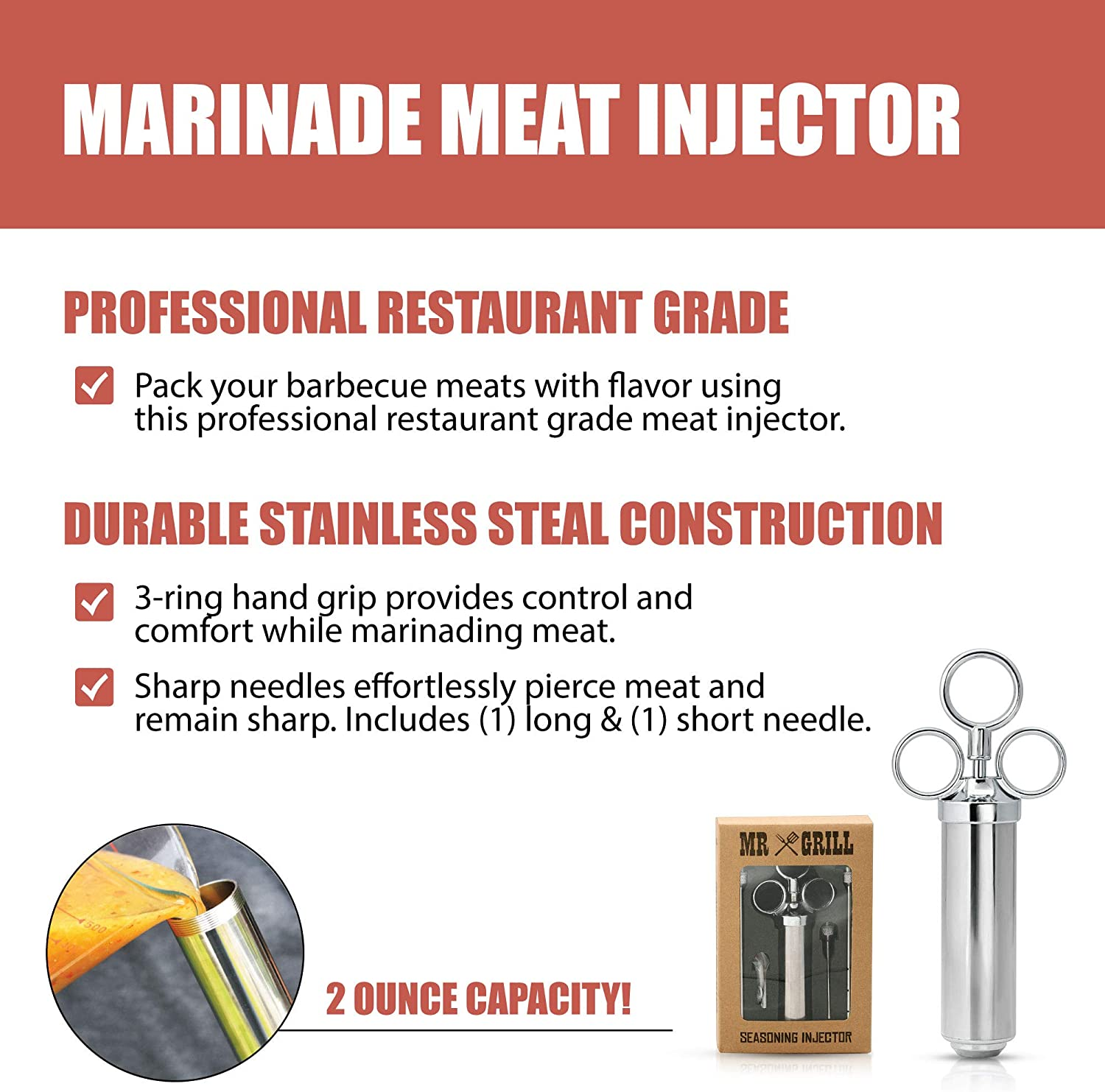 GRILLHOGS Marinade Meat Injector Kit, 304 Premium Stainless Steel BBQ Grill Syringe, Great Basting Tool for Larger Cuts of Meat Like Turkey, Grilling Gifts for Men, 2-Oz Capacity Barrel with 3 Needles: Kitchen & Dining