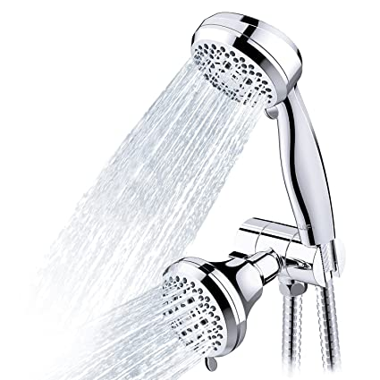 CLOFY Full Chrome Shower Head, 28-Setting Combo Shower Heads with ...