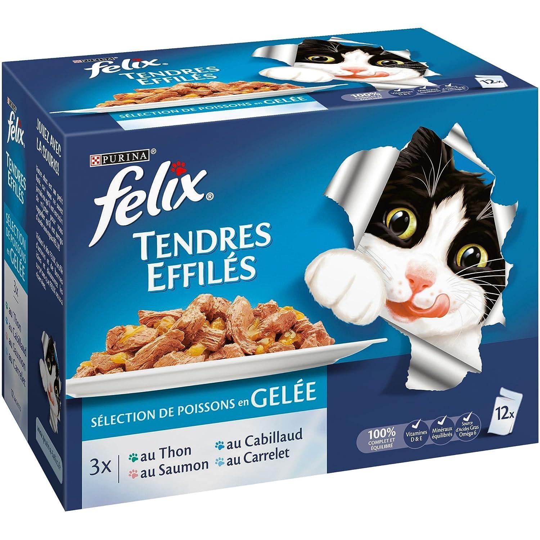 Felix Tendres Effilés en Gelée Poissons - 12 x 100 g - Sachets repas pour Chat Adulte - Lot de 6 573121