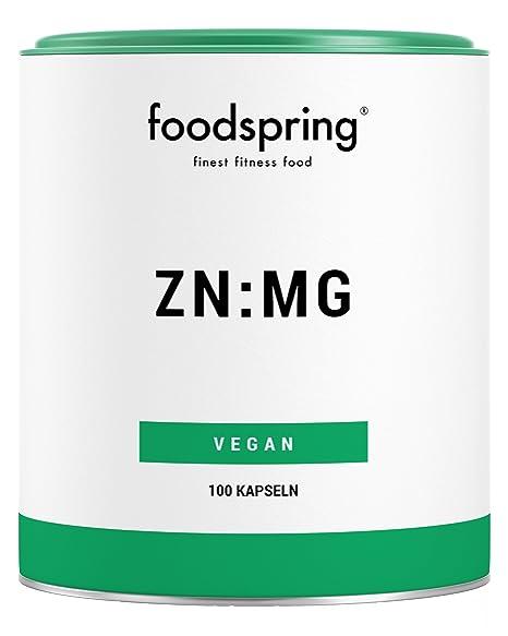 foodspring Zinc y Magnesio, 100 cápsulas, Zinc y magnesio para un mayor rendimiento