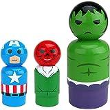 Bif Bang Pow! Marvel Classic Set of 3 Captain America, Red Skull, Hulk Pin Mate Wooden Figure