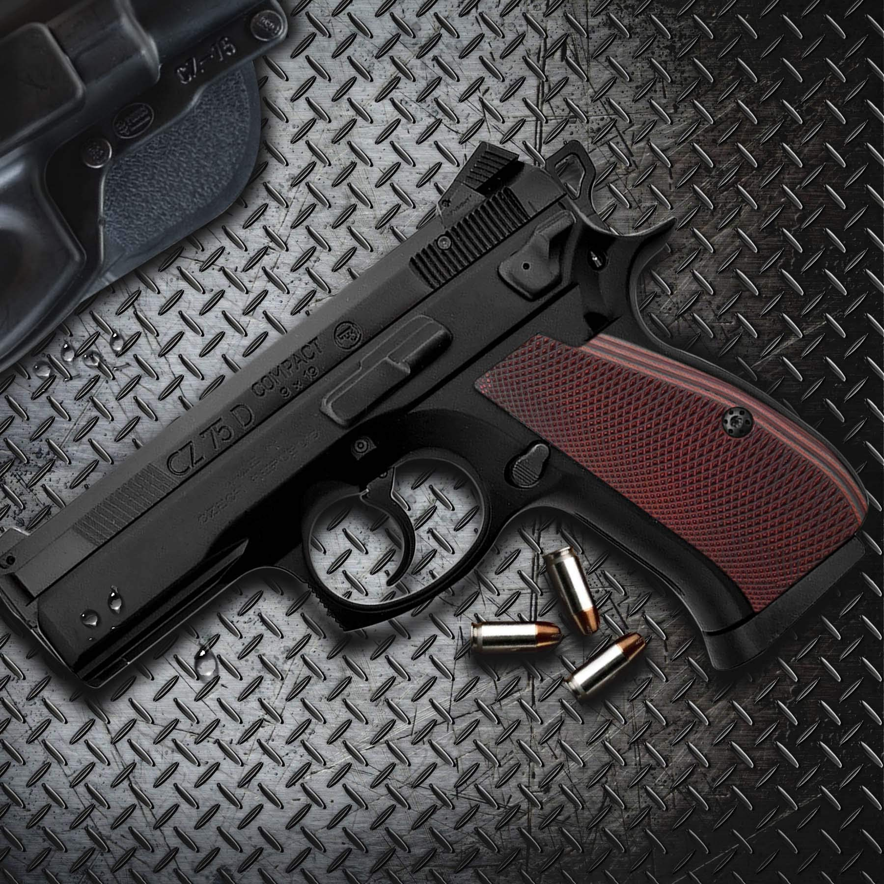 Cool Hand G10 Grips for CZ 75/85 Compact, Free Screws Included, Red/Black, SPC-PN-6 by Cool Hand