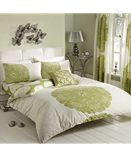 Gaveno Cavailia Luxury MANHATTAN Bed Set With Duvet Cover and Pillow Case, Polyester-Cotton, Cream/Green Double