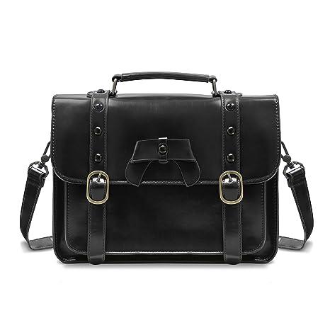 in stock attractive & durable new concept ECOSUSI Vintage Crossbody Messenger Bag Satchel Purse Handbag Briefcase for  Women & Girl, Black